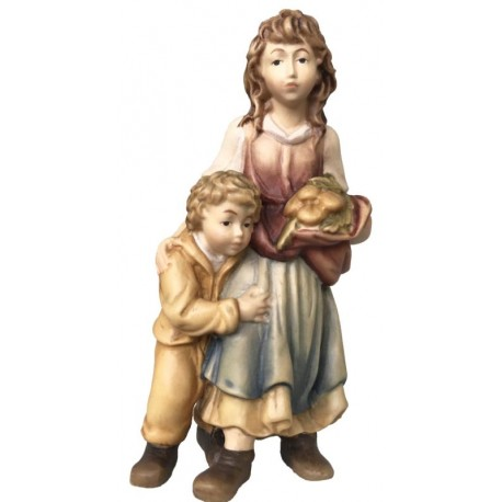 Shepherdess with Boy in wood - color