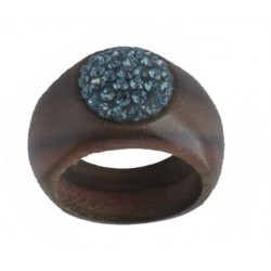 Nut wood Ring with Blue Swarovski Crystal