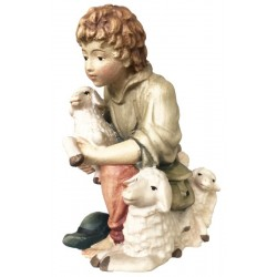 Kneeling young shepherd with sheeps carved in maple wood  - lightly colored with oil paint