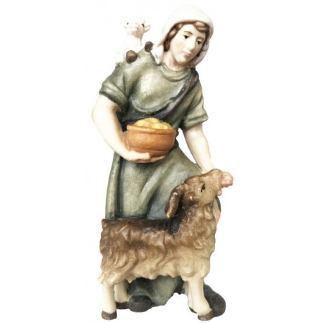 Shepherd with Goat in wood - color