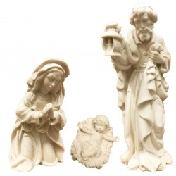 Holy Family without Stable - Dolfi Olive wood Nativity Set - Made in Italy - natural