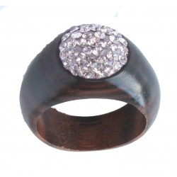 Wood Ring Pink | Custom wood Swarovski Crystals