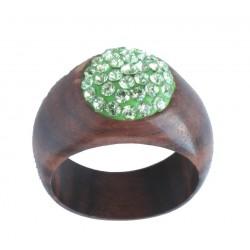 Ring wood Green | wood Grain Swarovski Crystals Ring