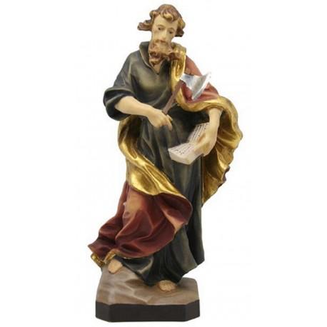 San Mattia apostolo in legno con scure - colorato a olio