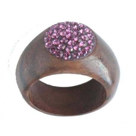 Wood carved Ring Violet |wood inlay Swarovski Crystals Ring