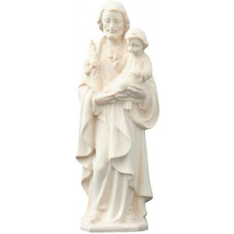 Saint Joseph with Child and Lily wood carved statue - natural