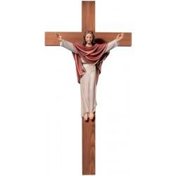 Christus König auf Kreuz aus Holz - lasiert