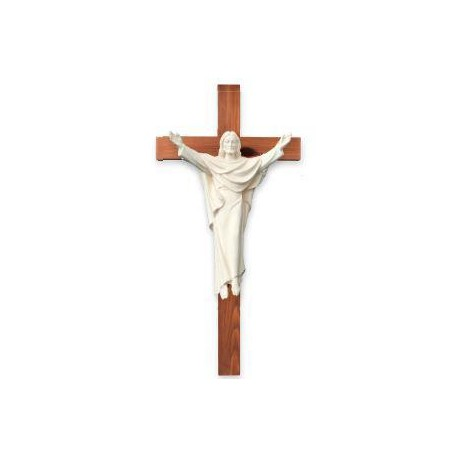 Risen Christ on Cross wood carved statue - natural