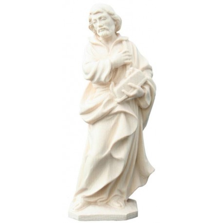Saint Joseph the Worker with Planer wood carved statue - natural