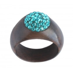 Walnut Ring with Turquoise Swarovski Crystals