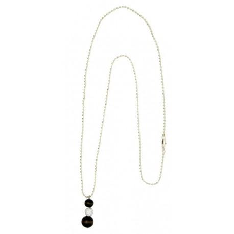 Halskette aus Holz mit Swarovski - 80 cm