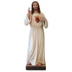 Sacro Cuore di Gesù Misericordioso con raggi in legno - colorato a olio