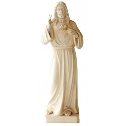 Sacred Heart of Jesus Christ Mercy wood Carving Statue Made in Val Gardena Italy - Made in Italy - natural