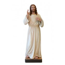Devine Mercy Jesus Statue Sacred Heart of Christ of the Good Shepherd Woodcarving Sculpture - Dolfi - oil colors