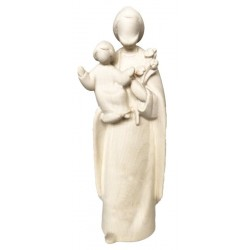 Saint Joseph with Baby Jesus Child wood carved in Modern Design - Dolfi small Religious Statues - natural