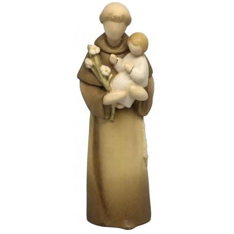 Sant'Antonio in stile moderno scolpito in legno acero dagli scultori Dolfi della Val Gardena - dipinta con colori ad olio