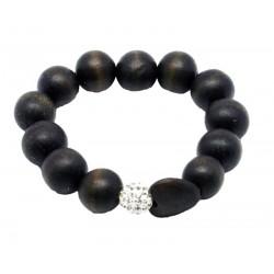 Wood bracelet with Swarovski