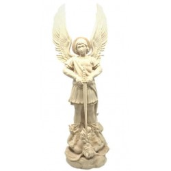 Saint Michael the Archangel Sculpture with Sword and Devil wood Carving Statue online Sales - Dolfi - natural