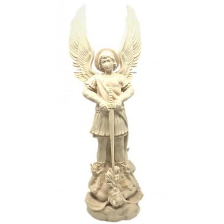 Saint Michael the Archangel Sculpture with Sword and Devil wood Carving Statue online Sales - Dolfi - natural