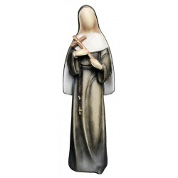 Saint Rita of Cascia Statue with Crucifix with Modern and Stylized Design from Val Gardena - Dolfi - oil colors