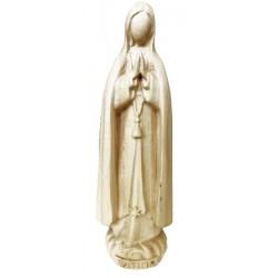 Madonna di Fatima pellegrina scolpita in stile moderno in legno della Val Gardena, arte sacrale - naturale