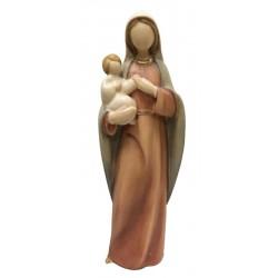 Madonna con Bambino in stile moderno stilizzata senza volto, articoli religiosi legno, Ortisei - colori ad olio