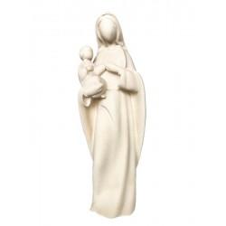 Madonna con Bambino in stile moderno stilizzata senza volto, articoli religiosi legno, Ortisei - naturale