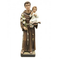 St. Anthony wood carved statue italian woodcarving - lightly colored with oil paint
