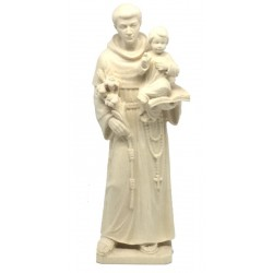 St Anthony wood carved Statue Italian Woodcarving Large Outdoor Religious Statues - Made in Italy - natural