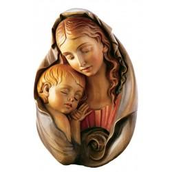 Relief Madonna Für Rosenkranz; Dolfi Holzfigur Barock geschnitzt, Original Grödner Holzschnitzereien - Ölfarben lasiert