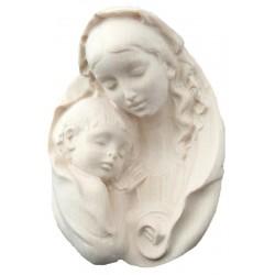 Ovale di legno raffigurante Madonna e Gesù - naturale