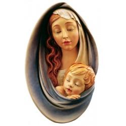 Relief Madonna - Dolfi Engelskopf aus Holz, diese Holzskulptur ist eine edle Grödner Holzschnitzerei - Ölfarben lasiert