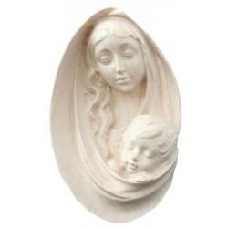 Relief Madonna - Dolfi Engelskopf aus Holz, diese Holzskulptur ist eine edle Grödner Holzschnitzerei - Naturbelassen