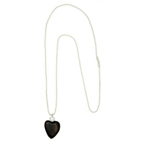 Collana lunga con ciondolo a cuore in noce e Swarovski - 80 cm, collane legno, Trentino Alto Adige