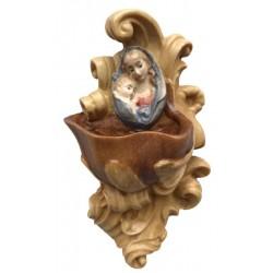 Weihwasser-Becken mit Relief Madonna, Dolfi Engelsköpfe Putten Köpfe, Original Grödner Schnitzereien - Ölfarben lasiert