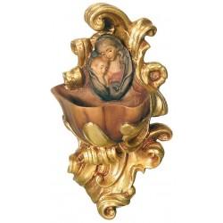 Weihwasser-Becken mit Relief Madonna, Dolfi Engelsköpfe Putten Köpfe, Original Grödner Schnitzereien - Vergoldetes Tuch