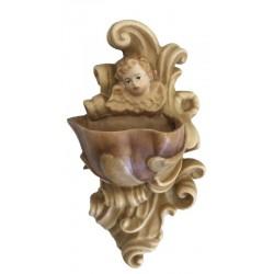 Weihwasser-Becken mit Engelkopf aus Holz - lasiert