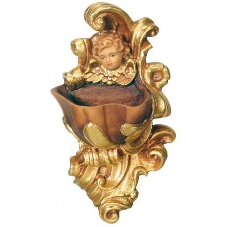 Acquasantiera con angelo in legno - drappo dorato