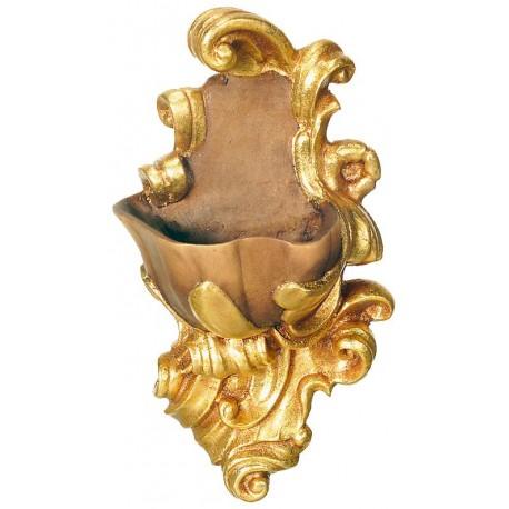 Acquasantiera scolpita finemente in legno nobile - Dolfi statue legno, Trentino Alto Adige - drappo dorato