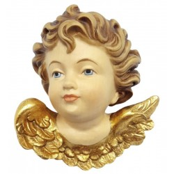 Head of Angel as Ornament in wood - color