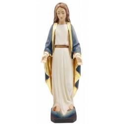 Figura di Maria Immacolata scolpita in legno pregiato - colorato colori pastello