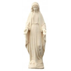 Figura di Maria Immacolata scolpita in legno pregiato - naturale