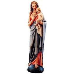 Madonna del Mondo finemente scolpita in legno - colorato colori pastello