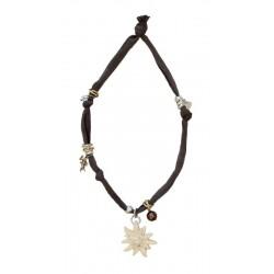 Collana elastica con stella alpina in legno e swarovski