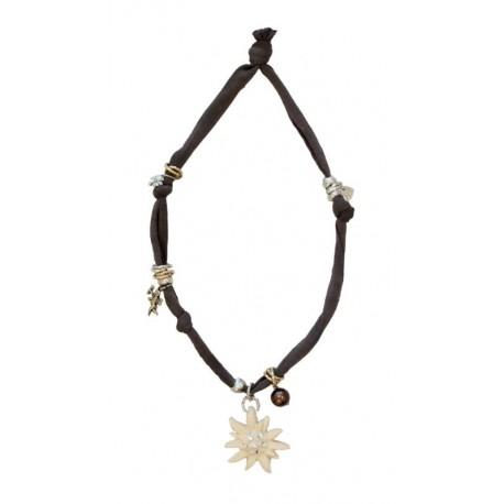 Trachtenkette, Halskette mit braunem Stretch