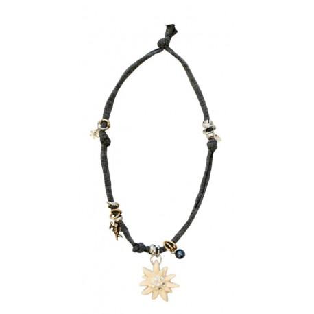 Halskette grau mit Swarovski Edelweiß