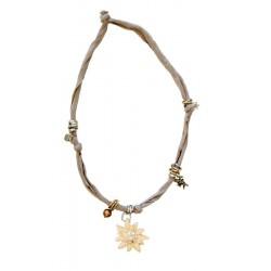 Halskette beige mit Swarovski Edelweiß