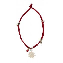 Halskette rot mit Swarovski Edelweiß