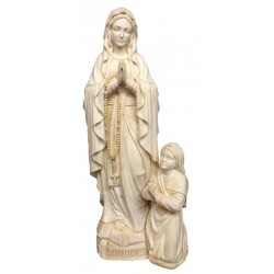 Our Lady of wooden Lourdes with Bernadette - natural