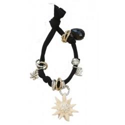 Armband schwarz mit Swarovski Edelweiß